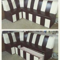 Бело-коричневый угловой диван